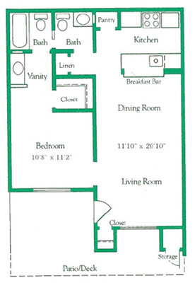 1 bed | 1.5 bad | 580 sq ft